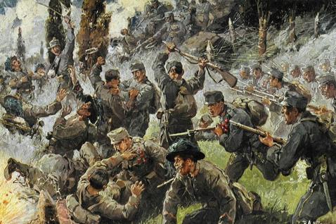 膠著的戰爭狀態讓帝國政經體質和族群問題的沉痾一夕之間都猛爆惡化。圖為描繪1916...