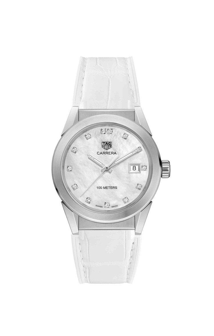 泰格豪雅Carrera Lady女表,白色表盤搭配鑲鑽時標、白色鱷魚皮表帶,約8...