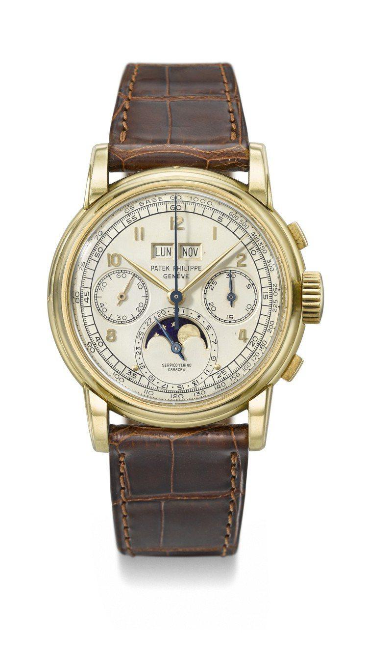 領拍的第一代百達翡麗編號2499的萬年曆月相計時腕表,估價逾4,676萬元。圖/...