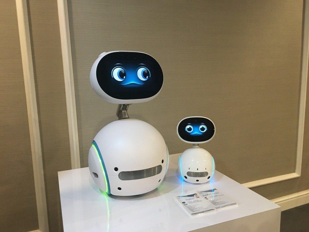 華碩今日首度發表的商用機器人「Zenbo Junior」,圖左為Zenbo,圖右...