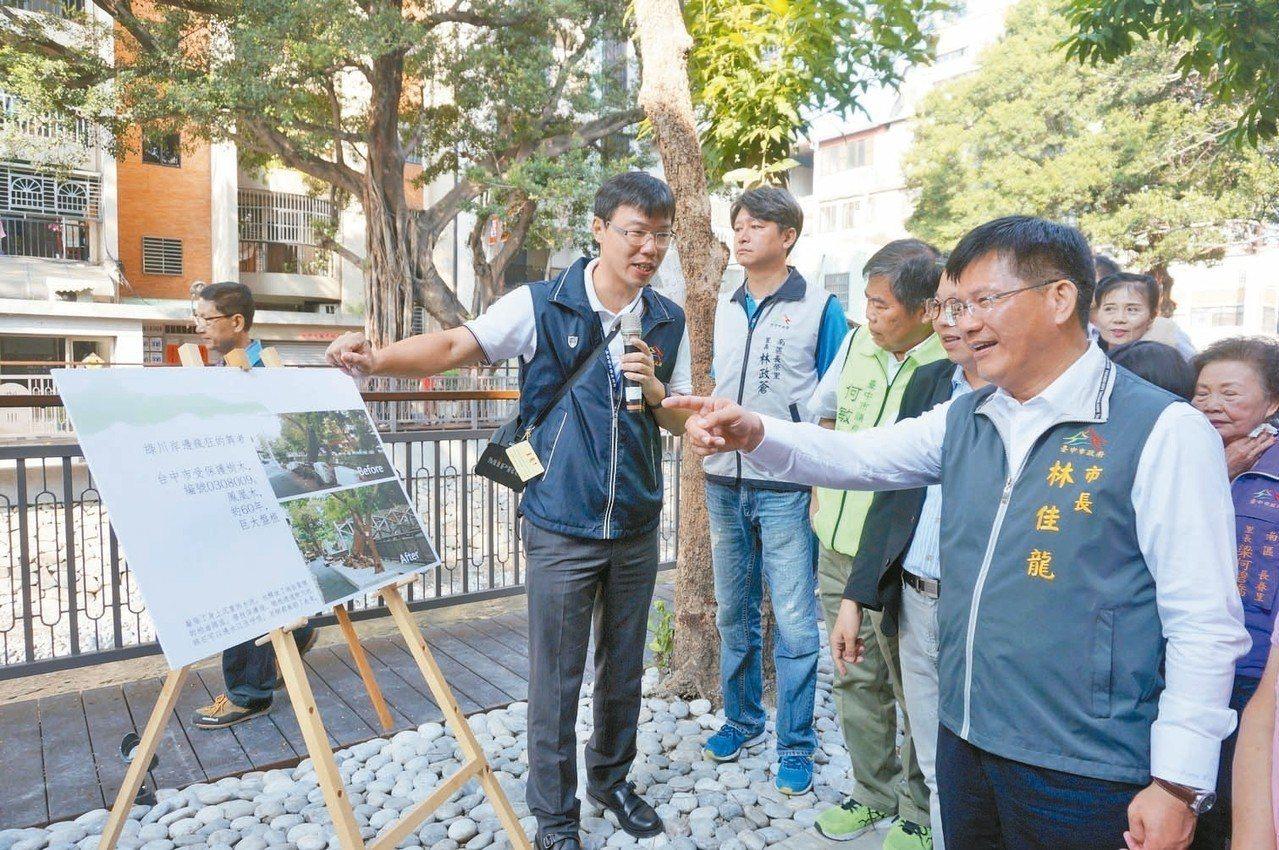 台中市長林佳龍(右)當過政府發言人,面對鏡頭經驗與功力十足。 記者洪敬浤/攝影