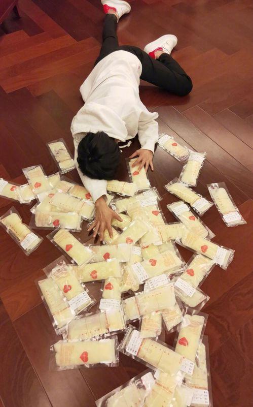 明星謝楠「摔」出一地母乳。(取材自微博)