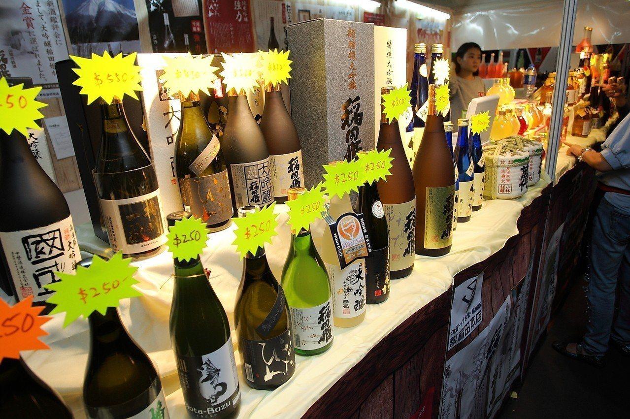 除了紅白烈酒外,日本清酒也有專屬展區。記者陳睿中/攝影(飲酒過量,有礙健康)
