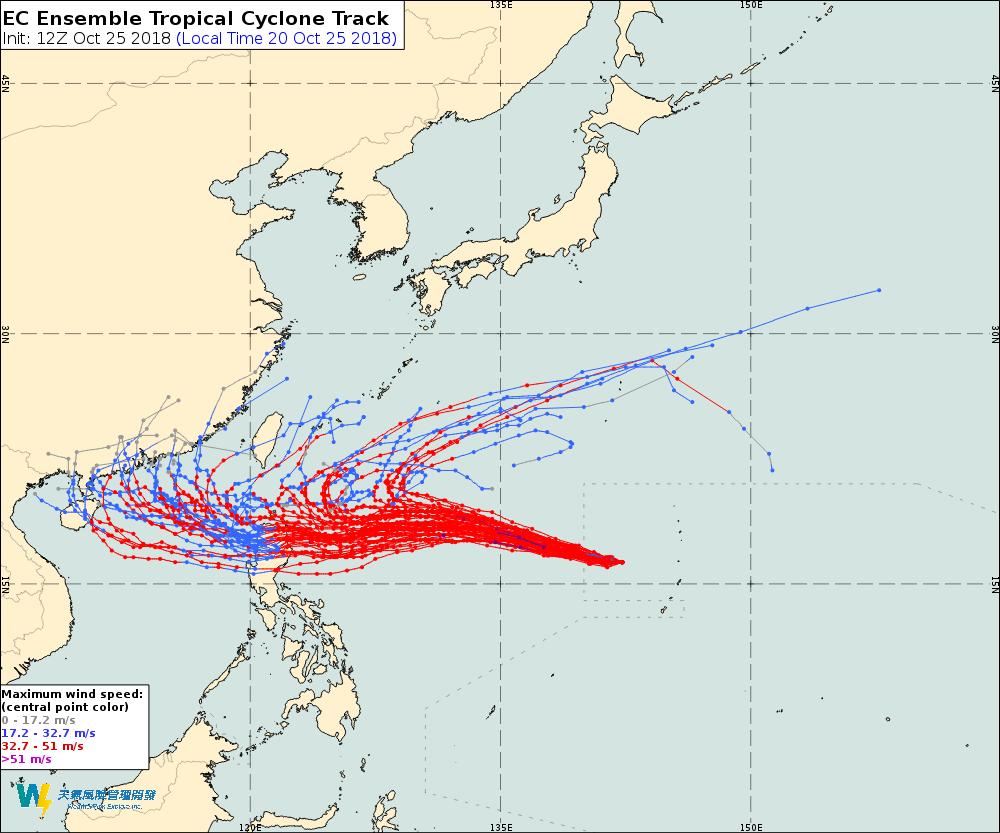氣象達人彭啟明說,對玉兔颱風的預測資料,各國仍然有不小分歧,大致上有兩種可能,一...