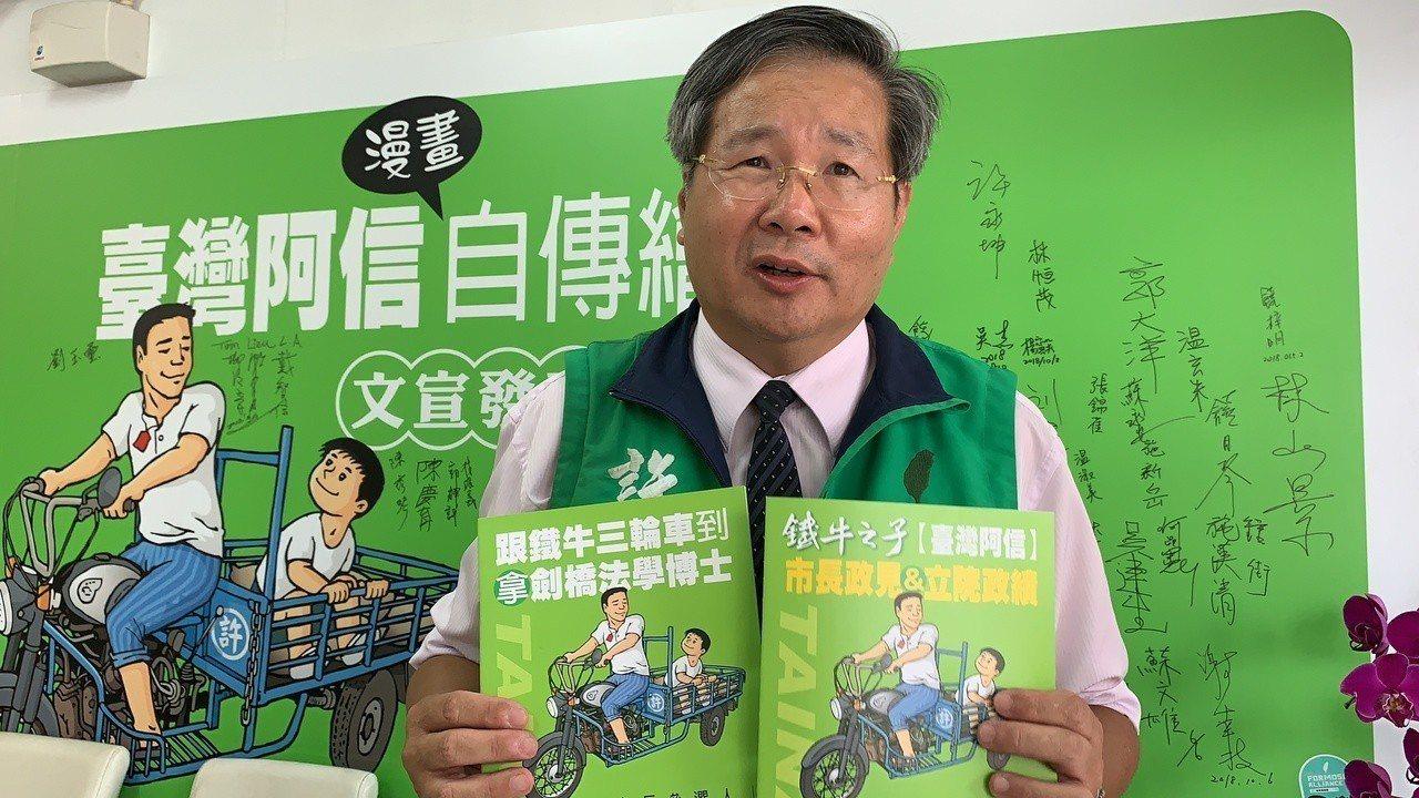 曾任台聯立委的無黨籍台南市長候選人許忠信今天表示,已完成走遍37區30萬戶發放自...