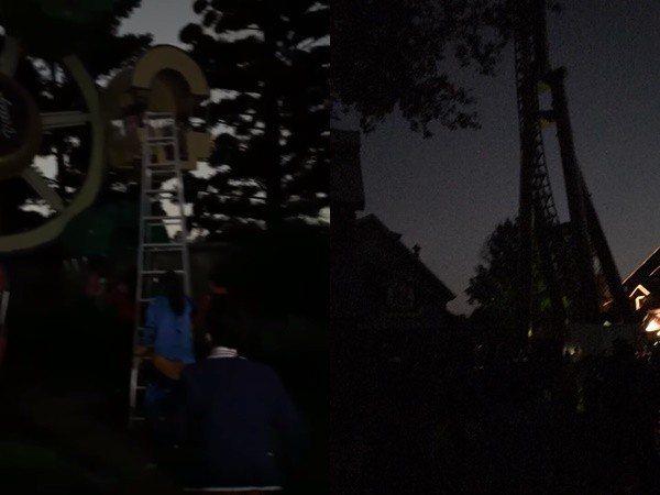 新竹縣關西鎮的六福村主題樂園接近晚上六點突然無預警停電,許多遊客被卡在遊樂設施上...
