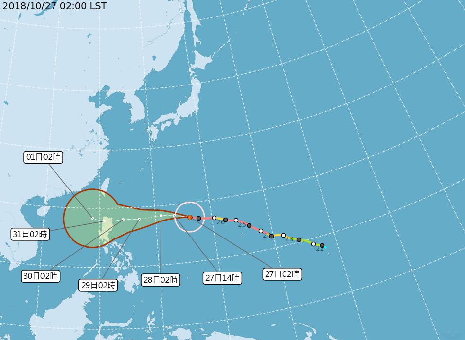 強颱玉兔路徑潛勢圖。圖/翻攝自氣象局網站