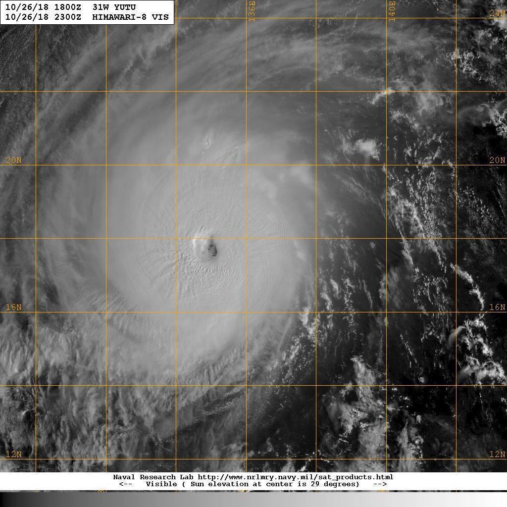 玉兔颱風周邊眼牆雲系寬光厚實,同時顯現均勻皺褶,很典型的強烈颱風特徵。圖/擷自鄭...