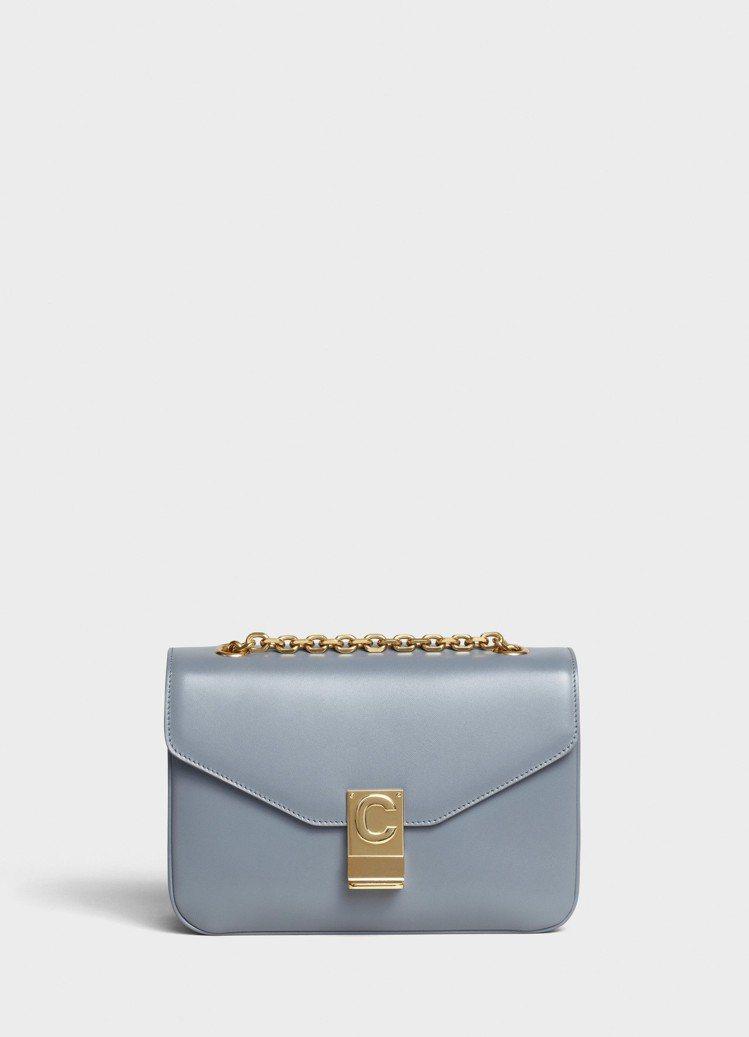 C Bag灰色光滑小牛皮中型鍊帶包,售價99,000元。圖/CELINE提供