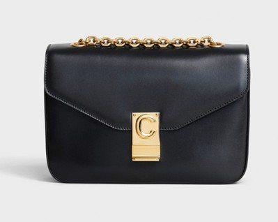 C Bag黝黑色光滑小牛皮中型鍊帶包,售價99,000元。圖/CELINE提供