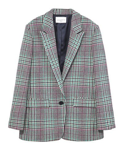 Sandro紅綠格紋西裝外套,售價16,000元。圖/Sandro提供