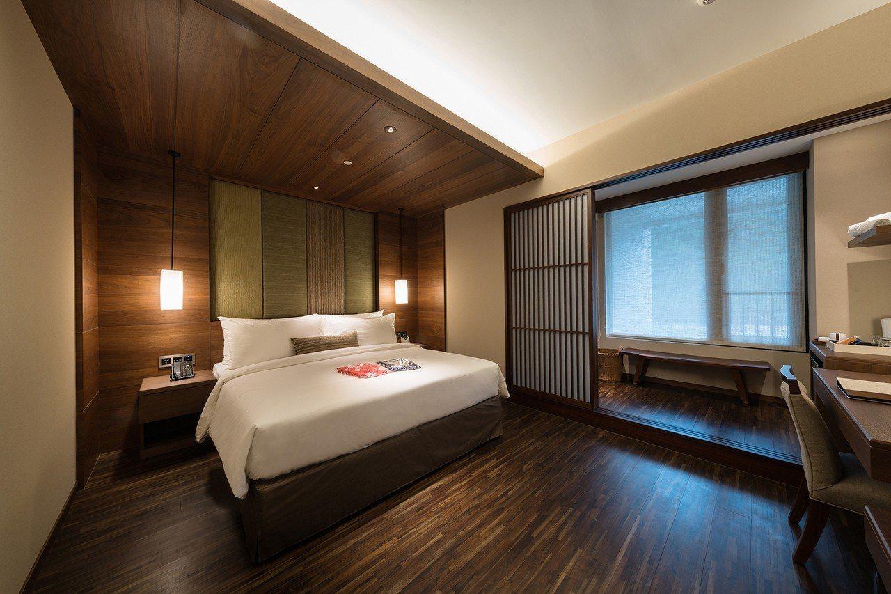 北投亞太飯店經典雙人客房(一大床)。 圖/北投亞太飯店提供