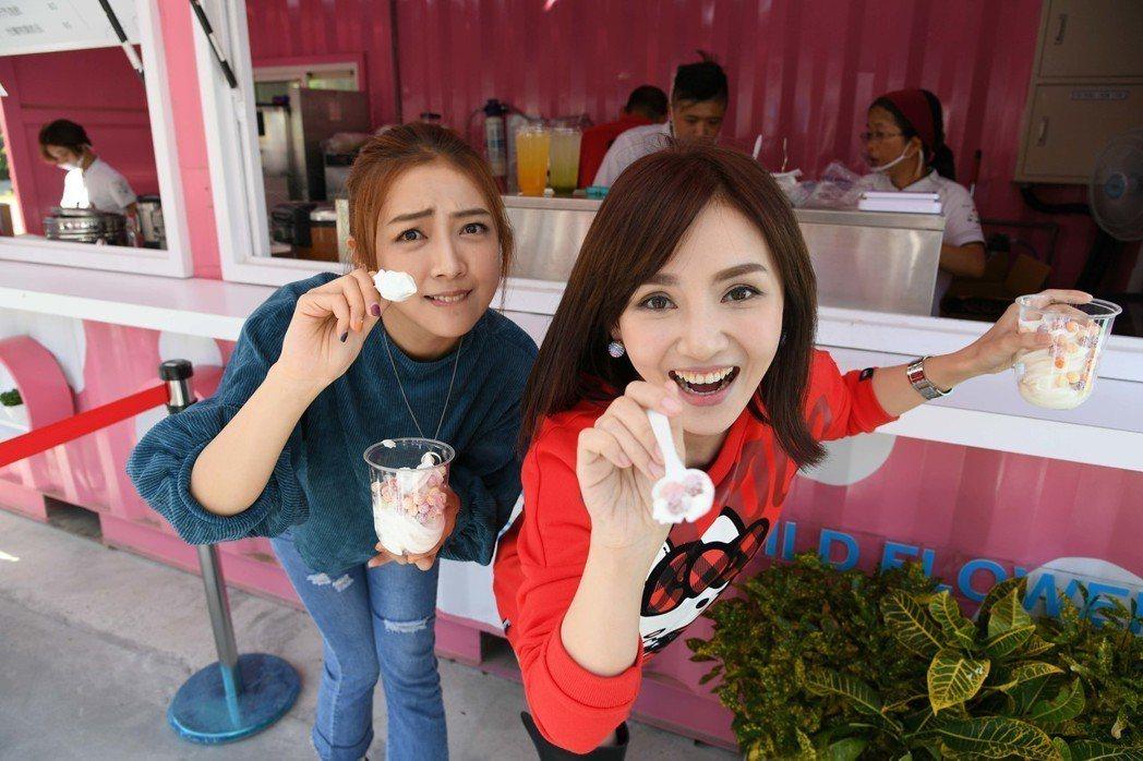 陳子玄(右)和黃甄妮搶先暢遊台中花博  圖/三立提供