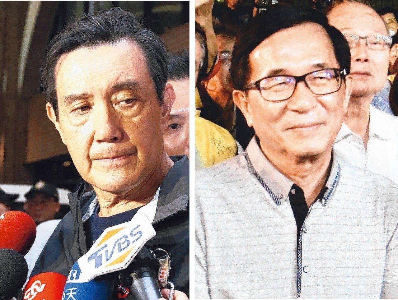 今年選舉,兩位重量級助選員,前總統馬英九(左)和陳水扁(右)火紅程度不輸候選人。...