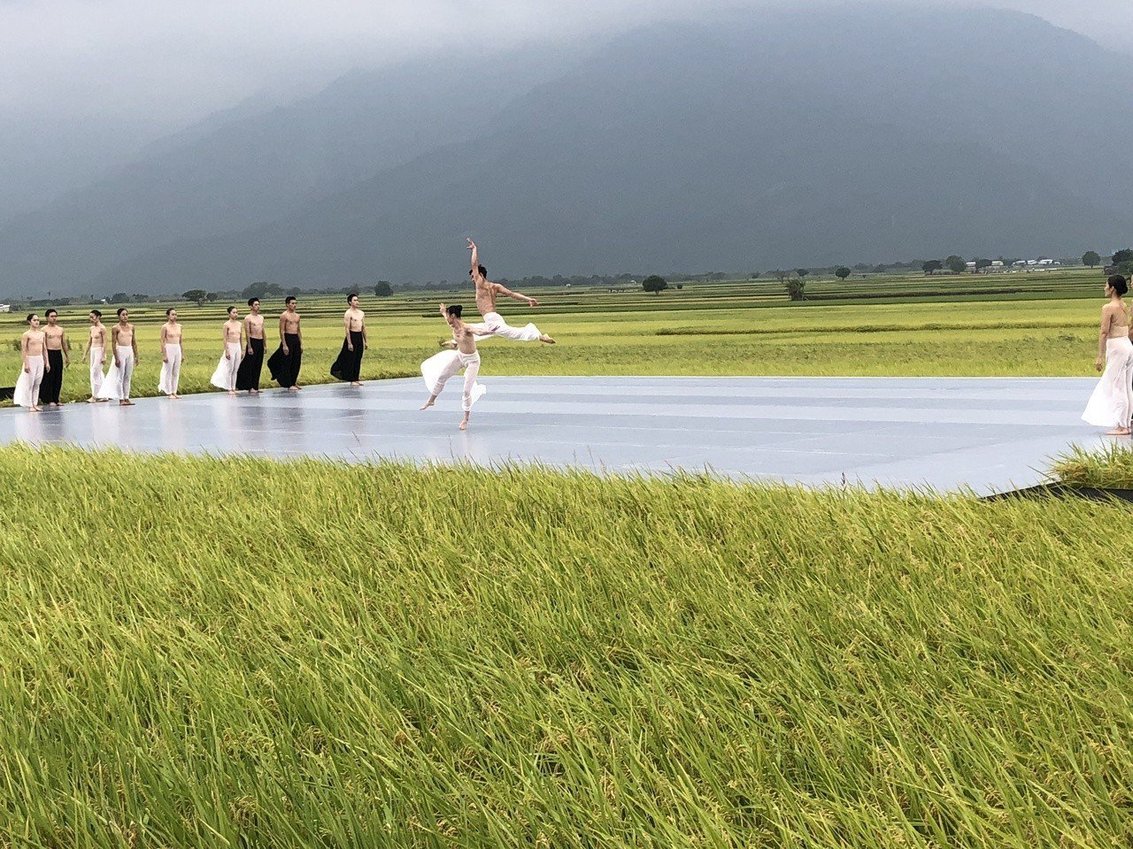 雲門昨在台東池上演出,由於沒下雨,舞者才能做這種「飛起」的跳躍動作。不過因為風大...