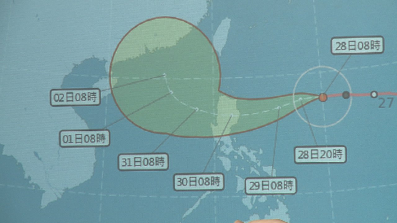 受玉兔颱風影響,台灣北部、東半部在30日(周二)下半天將開始降雨。攝影/記者謝育...