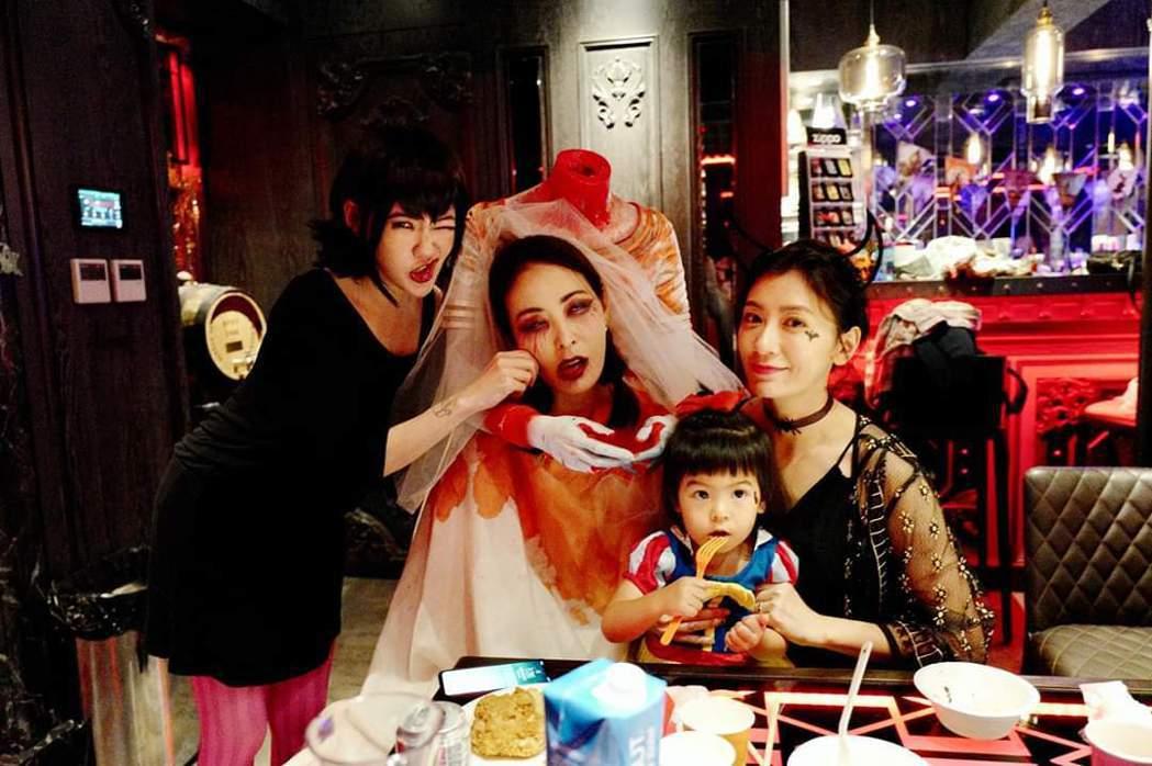 小S和賈永婕、賈靜雯大玩萬聖趴,Bo妞淡定狂吃。圖/摘自臉書