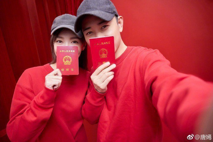 唐嫣(左)宣告嫁給同是演員羅晉(右),並貼出一連串浪漫婚紗照。圖/摘自微博