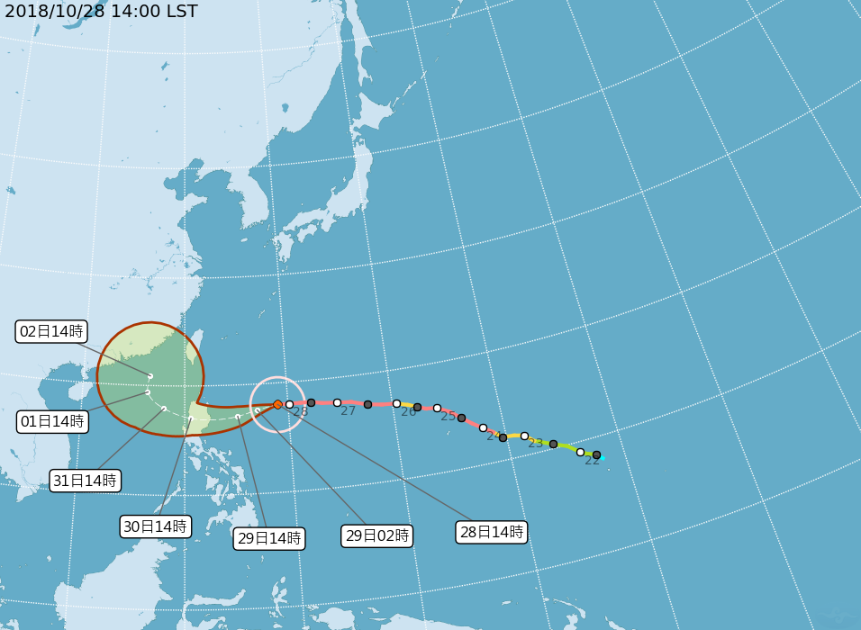 玉兔颱風路徑圖。圖/擷取自氣象局網站