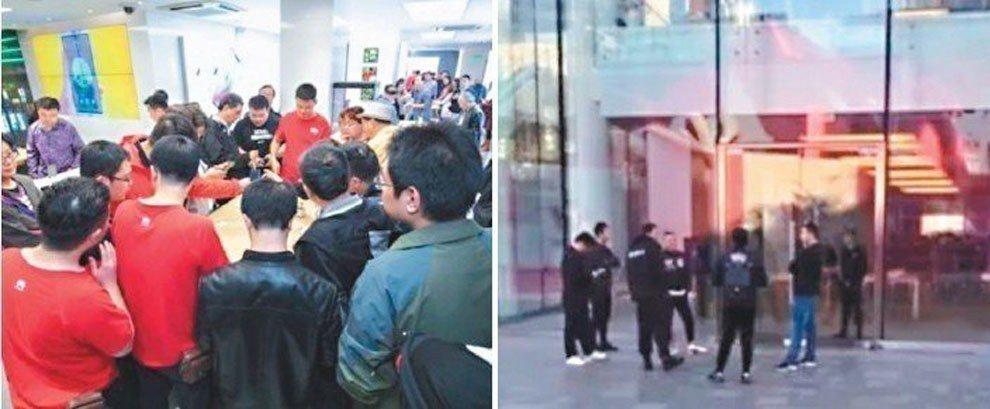 華為Mate 20系列與蘋果新機iPhone XR同天開賣,一邊門店內擠滿人,另...