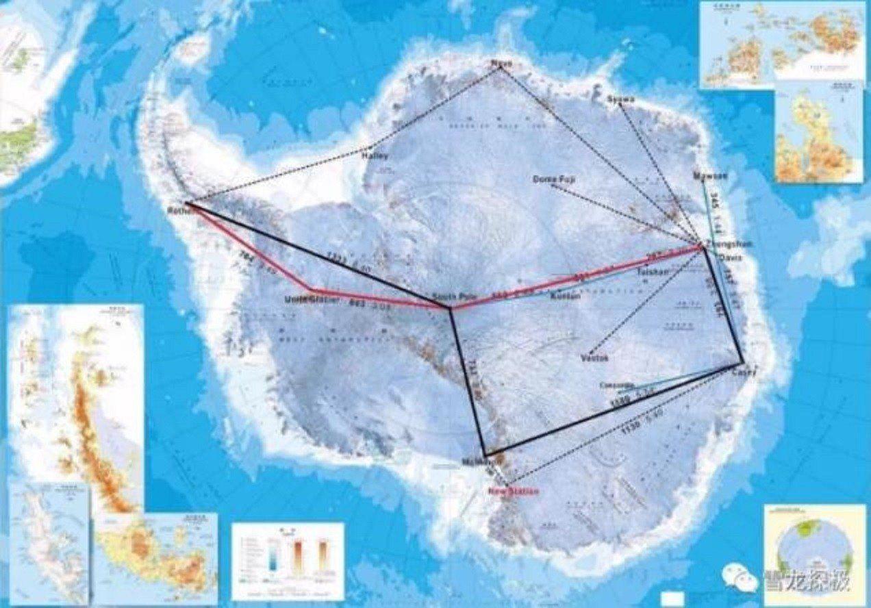 紅色標線是飛機轉場到達中山站的路線,先從南極半島的英國羅斯拉站進入南極,然後到聯...