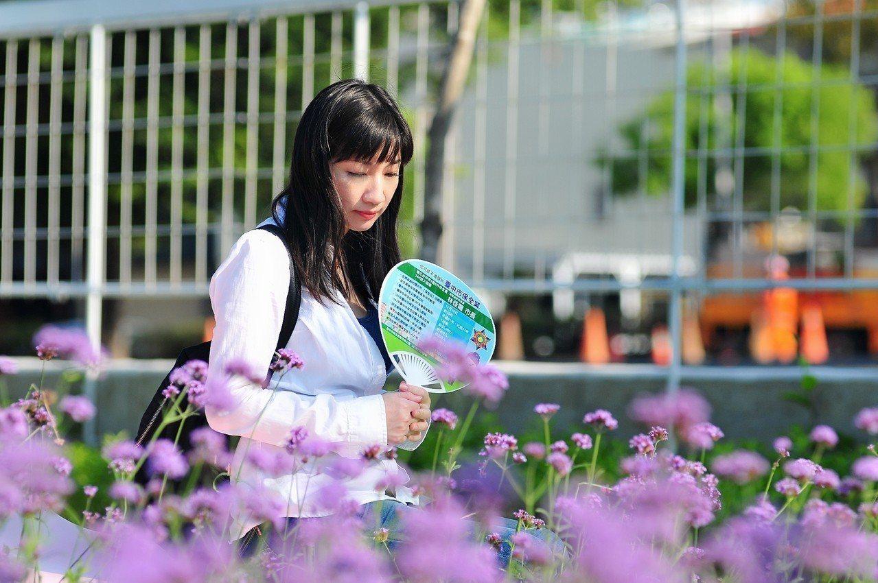 台中市保全公會提供花博愛心扇供遊客使用。圖/台中市保全公會提供