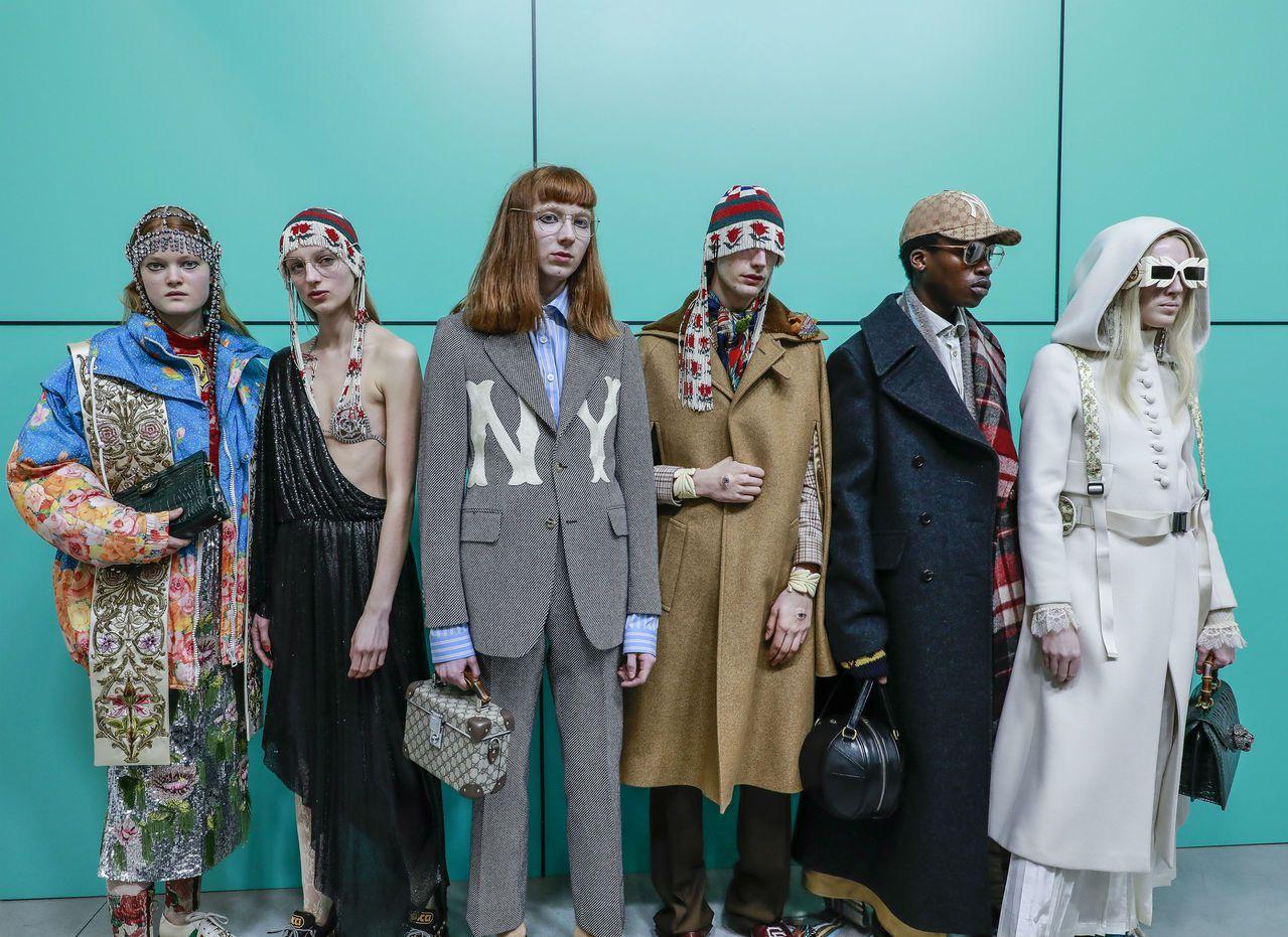 模糊性別界限、男裝女穿、女裝男穿等等流行也早已蔓延時尚圈。圖/Gucci提供