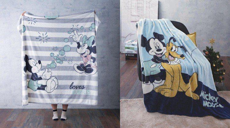 米奇系列法蘭絨毯束口袋組,藍款、灰款,原價2,980元、特價799元。圖/HOL...