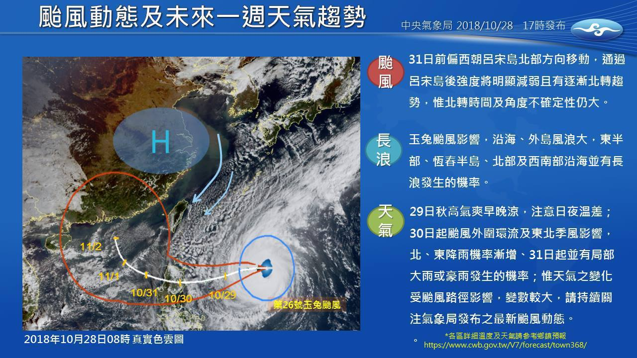 玉兔颱風影響圖。圖/擷取自氣象局網站