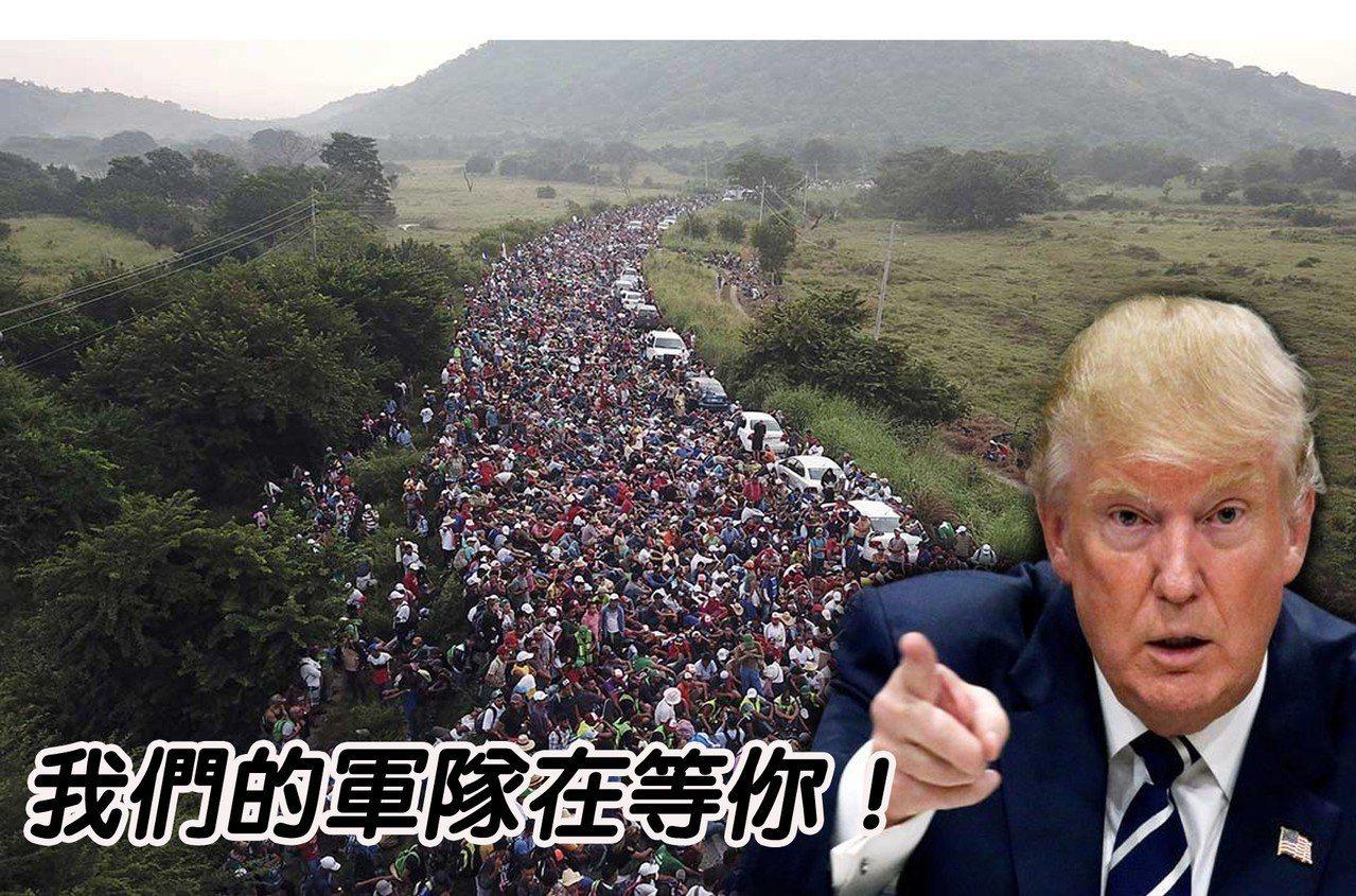 川普曾警告中美洲移民大軍,非法入境將如同入侵美國。 圖/取自路透