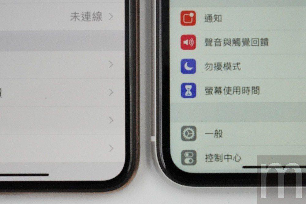 雖然同樣採全尺寸螢幕設計,但邊框大小依然因為面板特性而有差異,左為iPhone ...
