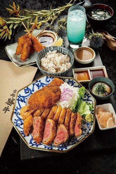 京都勝牛三味480元(前)/包含炸翼板、厚切菲力與薄切牛醬3款牛排,3分熟肉質呈...