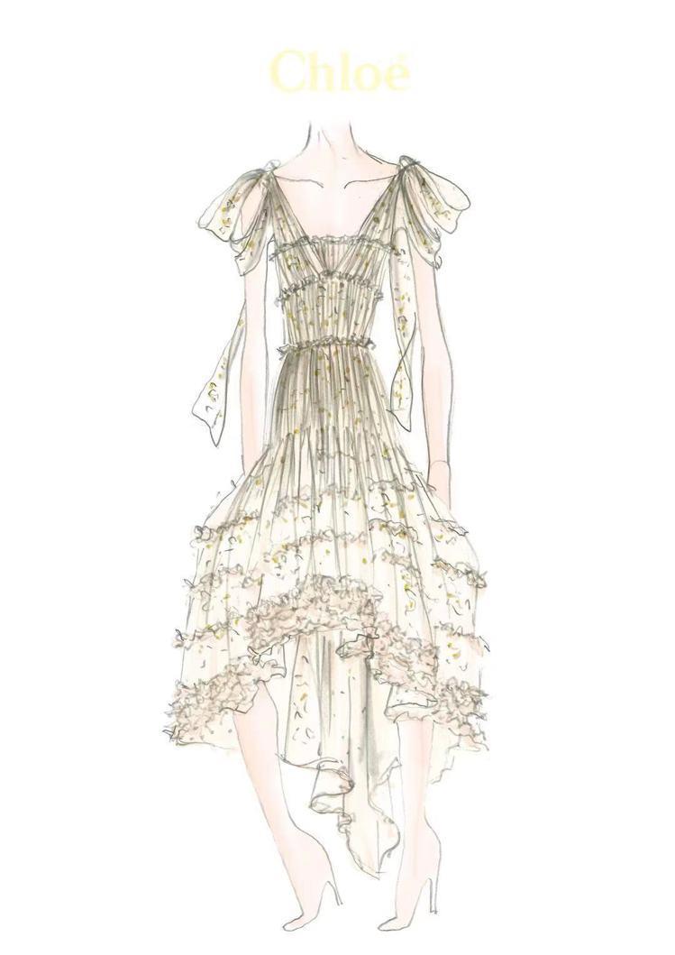 唐嫣婚禮前夕晚宴服的手繪設計圖。圖/Chloé提供
