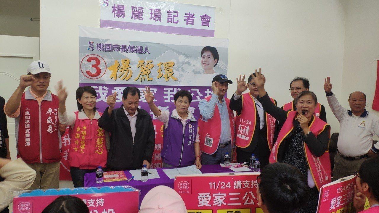 無黨桃園市長候選人楊麗環(左4)今天公開表達支持愛家公投。記者李京昇/攝影