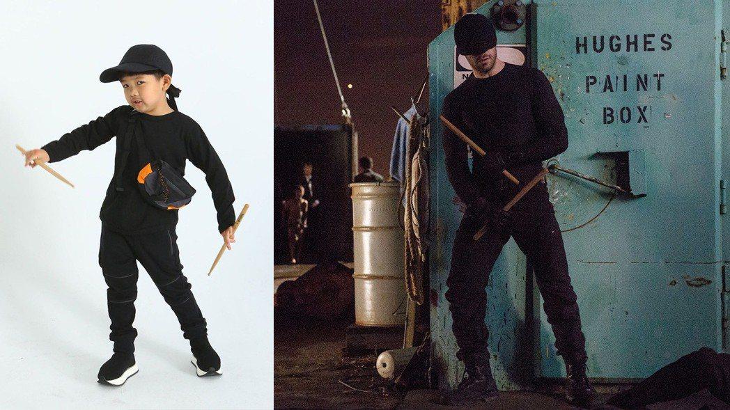 想讓兒子變裝「漫威夜魔俠」的主角梅鐸,只需要全身黑的酷哥造型,帶上遮掩的黑色球帽...