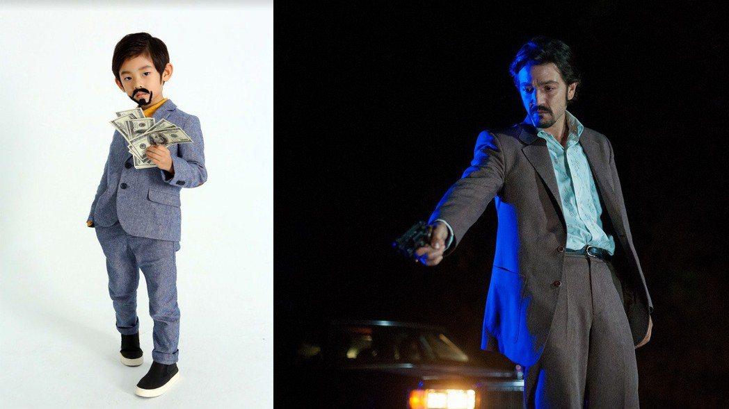 讓寶貝兒子穿上西裝,梳上油頭、畫上鬍子,手拿紙鈔,就可以成功變身「毒梟:墨西哥」...