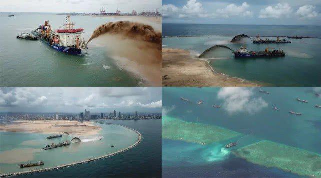 大陸挖泥船正在南海進行的「吹沙填海」工程。 (央視科教)