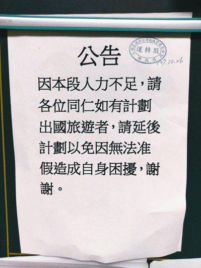 今天傳出台鐵七堵機務段因人力不足,要求員工若有出國旅遊計畫者應延後。 圖/台鐵產...