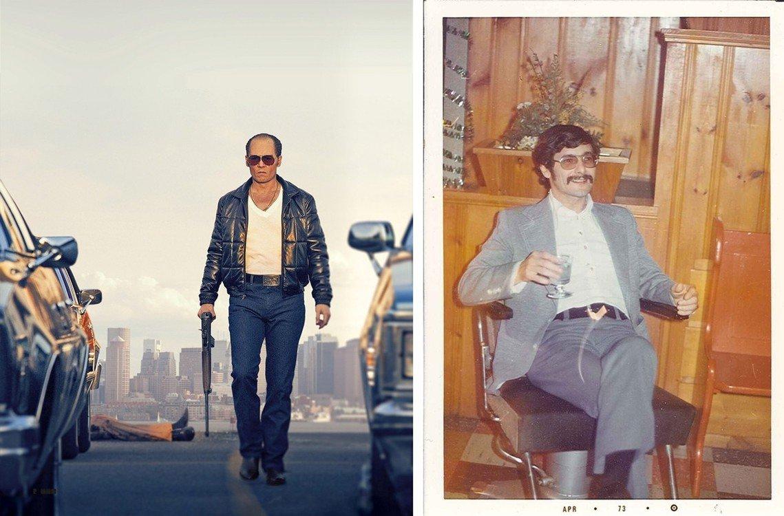 左圖為電影《黑勢力》(Black Mass),由強尼戴普飾演白毛巴爾傑。右圖為巴...