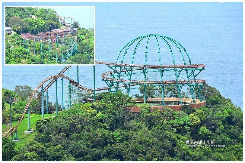 步道上一直可以望到海洋公園的遊樂設施,連遊客的尖叫聲都聽得到。