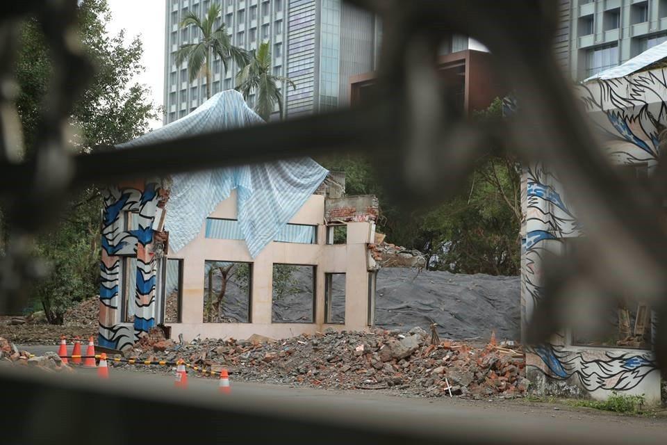 南港瓶蓋工廠G棟被拆除時樣貌。 圖/南港瓶蓋工廠守衛隊提供