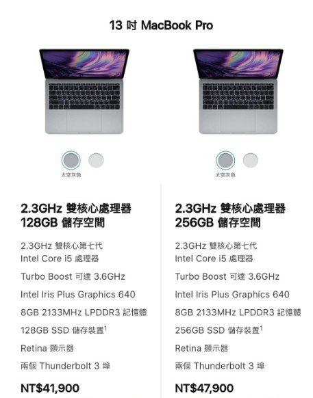 MacBook Pro無Touch Bar性能。圖取自蘋果官網
