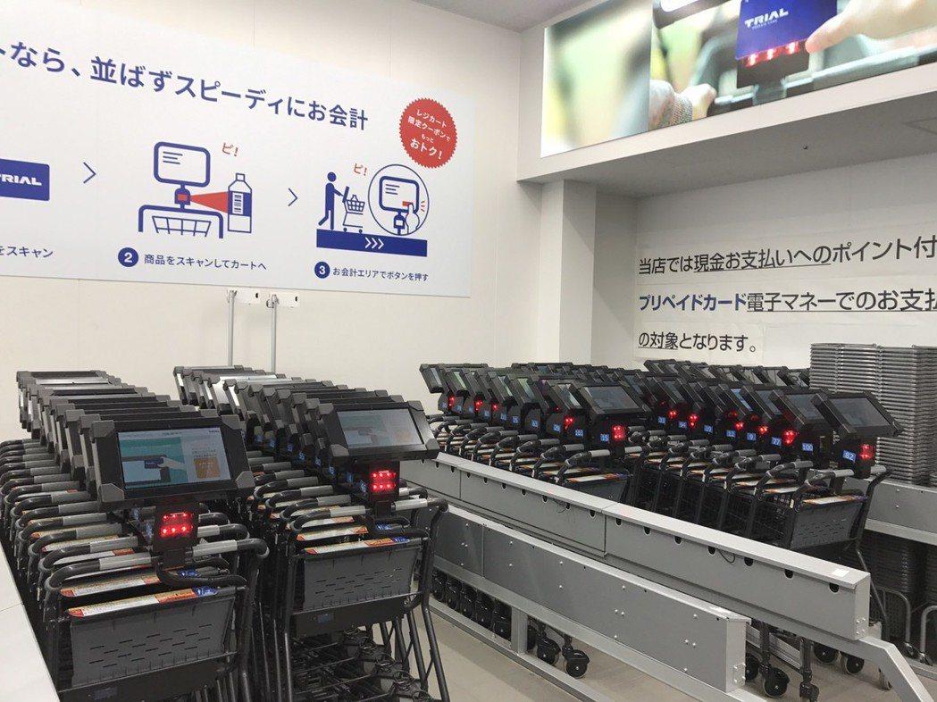 TRIAL所推出的GOCart(智能購物車),一台要價10萬日圓。 記者葉卉軒/...