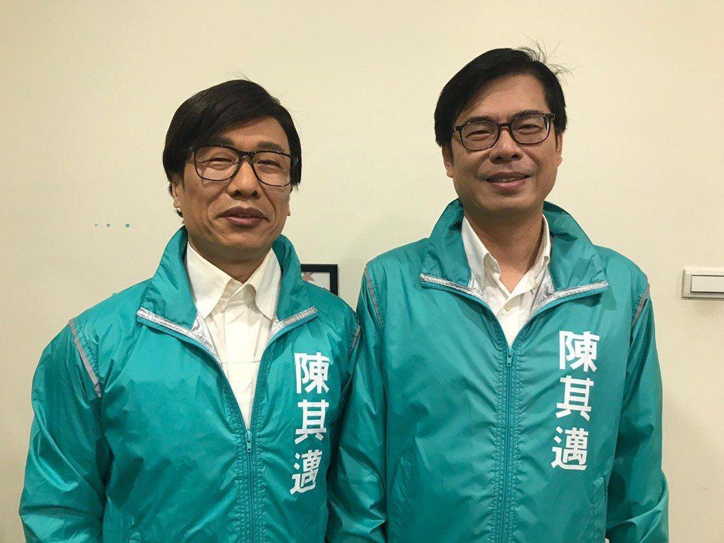 郭子乾(左)模仿陳其邁,他兩邊陣營都模仿,笑說無論誰選上,「都是我選上。」圖/郭...
