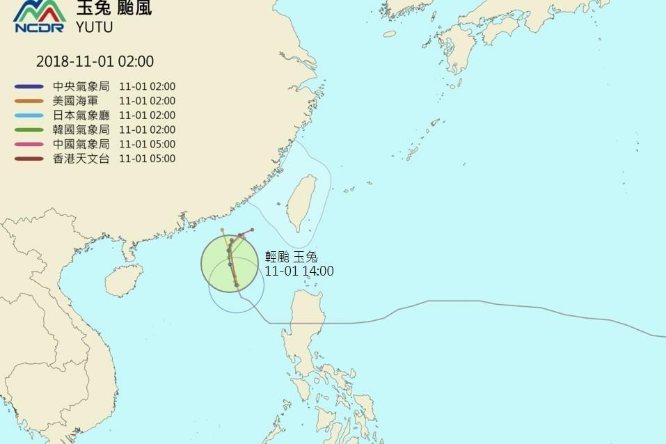 玉兔颱風路徑預測圖。圖/擷自NCDR天氣與氣候監測