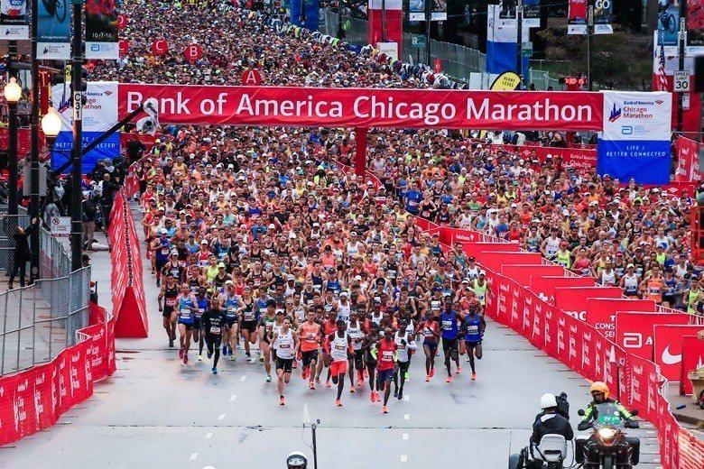 芝加哥馬拉松是全球六大馬之一,2018年賽事約有45000名跑者參賽。 歐新社資...