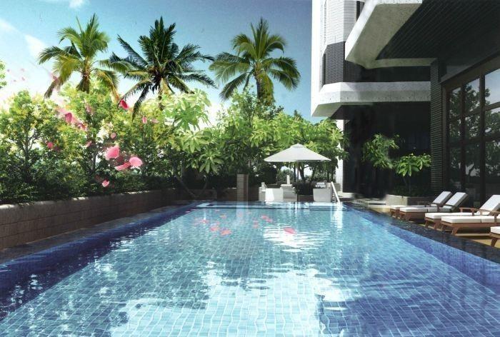 「新潤翡麗」公設規劃20米泳池,為A7重劃區中少有,吸引年輕族群青睞。(泳池示意...