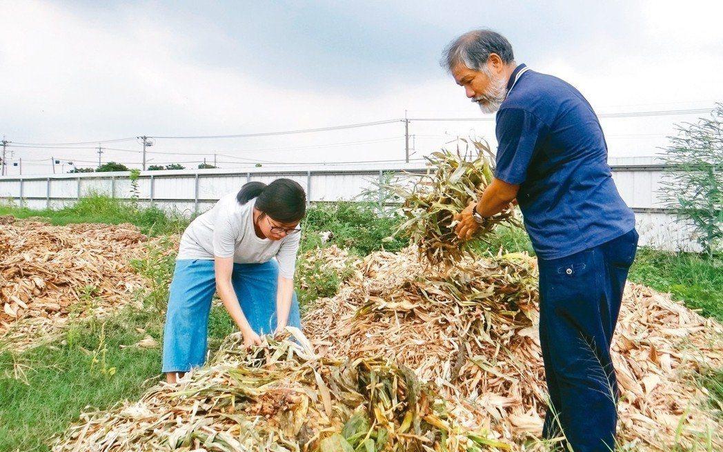 即便堆肥再臭,王立俞(右)也覺得芬芳,她因繪本創作而愛上友善土地的有機農業。 記...