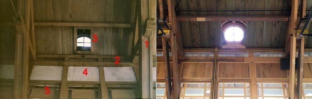 有北投達人之稱的楊燁,以1989年拆遷前的新北投站一隅跟現在重組後座對比,同一角度有5處不一樣,其中(1)原來是實心木,重組後改成兩片木板。 圖/楊燁提供