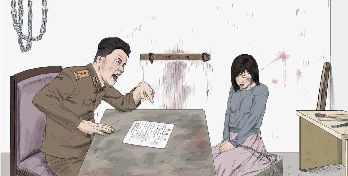 圖為曾擔任北韓宣傳畫家的崔成國(Choi Seong Guk)依據脫北者和前北韓...